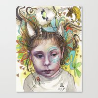 creativity Canvas Prints featuring Creativity by busymockingbird