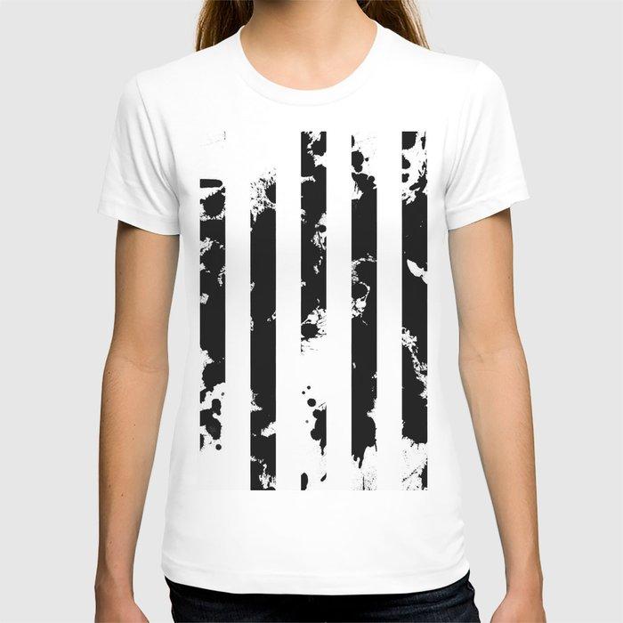 Splatter Bars - Black ink, black paint splats in a stripey stripy pattern T-shirt