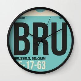 BRU Brussels Luggage Tag 1 Wall Clock