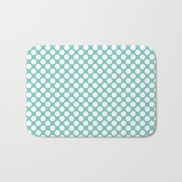 Polka dots - turquoise and white Bath Mat