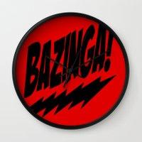 bazinga Wall Clocks featuring bazinga by  Alexia Miles photography