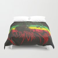rasta Duvet Covers featuring Rasta Lion by Jill Pace