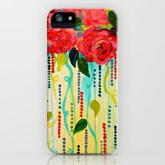 ROSE RAGE Stunning Summer Floral Abstract Flower Bouquet Feminine Pink Turquoise Lime Nature Art Slim Case iPhone (5, 5s)