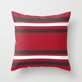 Red and Gray Bold Sport Jersey Stripes Throw Pillow