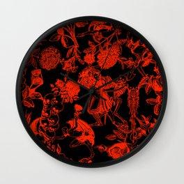 Demons N' Roses Toile in Black + Red Wall Clock