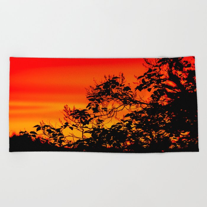 Silhouette of leaf with red autumn sky #decor #society6 Beach Towel