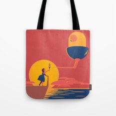 The Girl and The Curious Alien Tote Bag