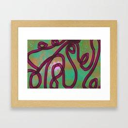 """Galactic Ribbon"" (Burgundy/Green) Digital Painting // Fine Art Print Framed Art Print"