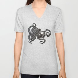 Barnacle Octopus in Black Unisex V-Neck