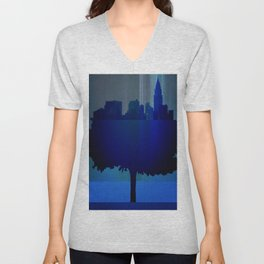 Point of view on the city blue Unisex V-Neck