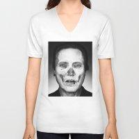 christopher walken V-neck T-shirts featuring CHRISTOPHER WALKEN SKULL by Maioriz Home