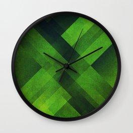 Green Blocks Wall Clock