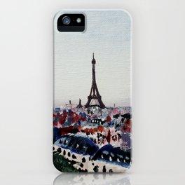 Paris Eiffel Tower Acrylics On Canvas Board iPhone Case