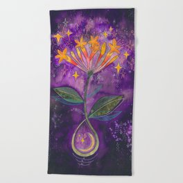 New moon bloom Beach Towel