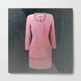 vintage suit pink fashion Metal Print