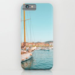 Luxurious Yachts And Boats Print, Cannes Harbor Port, Mediterranean Sea Print, Blue Teal Print, Travel Cannes France Landscape, Seascape Travel, Explore The World iPhone Case