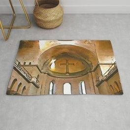Golden Cross Of The Hagia Eirene Constantinople Black Outline Art Rug