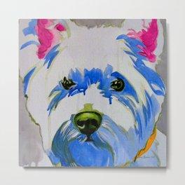 Westie Pop Art Dog Art Portrait  Metal Print