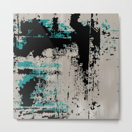 Grunge Paint Flaking Paint Dried Paint Peeling Paint Beige Teal Black Metal Print