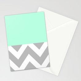 MINT & CHEVRON COLORBLOCK Stationery Cards