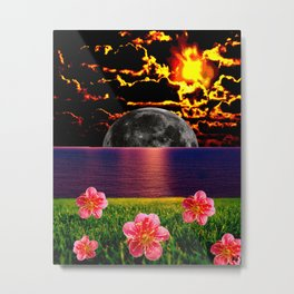 Moon Setting Metal Print