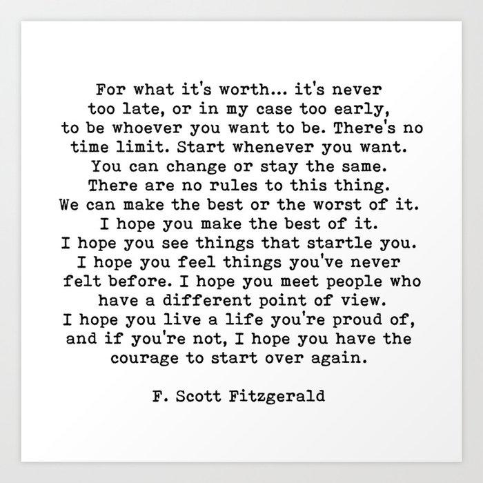 Life quote, For what it's worth, F. Scott Fitzgerald Quote Kunstdrucke