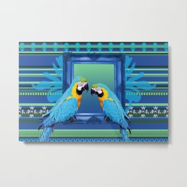 Blue Macaw with frame Metal Print