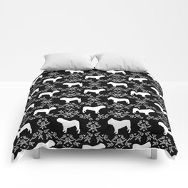 English Bulldog silhouette florals black and white minimal dog breed pattern print gifts bulldogs Comforters