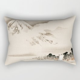 View Of Mount Fuji Traditional Japanese Landscape Rectangular Pillow