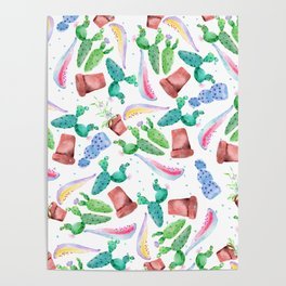 Colorful pink green lilac watercolor cactus Floral Poster