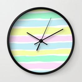 Pastel shade horizontal stripes Wall Clock