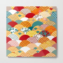 Nature background with japanese sakura flower, orange red pink Cherry, wave circle pattern Metal Print