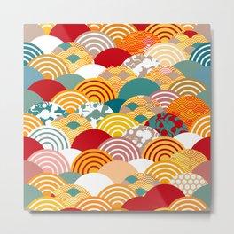 Nature background with japanese sakura flower, orange red pink Cherry, wave circle pattern Metal Print