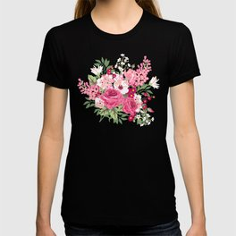 Cottage Chic Roses and Lilacs Floral in Aqua and Pink T-shirt