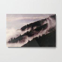 Mystic fog in the woods Metal Print