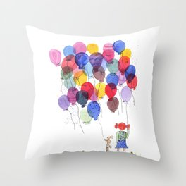 girl with balloons whimsical watercolor illustration Throw Pillow