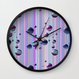 Сolored bubbles and stripes Wall Clock