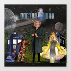 1th Doctor, 4th Doctor, Sarah Jane, K-9 Canvas Print