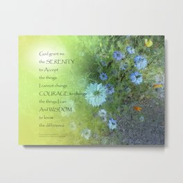 Serenity Prayer Bachelor's Buttons Metal Print