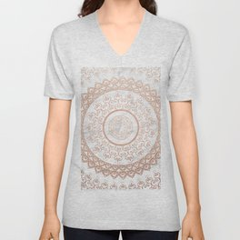 Mandala - rose gold and white marble Unisex V-Neck