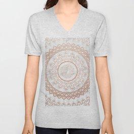 Mandala - rose gold and white marble Unisex V-Neck