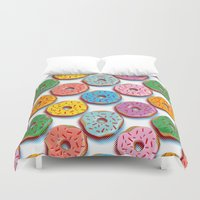 donuts Duvet Covers featuring Donuts by Helene Michau
