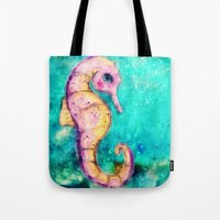 seahorse Tote Bags featuring Seahorse by SannArt