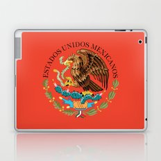Close up of the Seal from the National flag of Mexico on Adobe red background Laptop & iPad Skin
