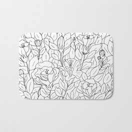 Floral Sketch - B&W Bath Mat