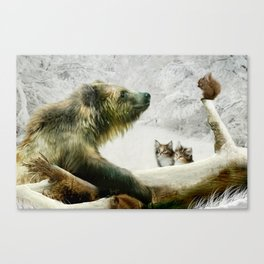 Bear, Squirrel and Kitten Canvas Print