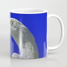 Regal White Egret On Blue Background Coffee Mug