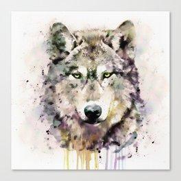 Wolf Head Watercolor Portrait Canvas Print
