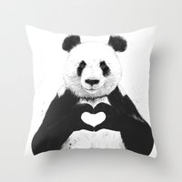 panda Throw Pillows featuring All you need is love by Balazs Solti