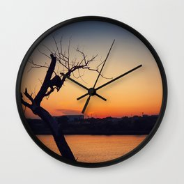 dry tree over sunset Wall Clock